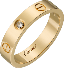 Love wedding band, 1 diamond Yellow gold, diamond