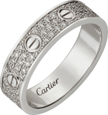 Love wedding band, diamond-paved White gold, diamonds