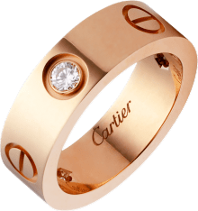 Love ring, 3 diamonds Pink gold, diamonds