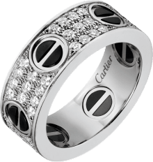 Love ring, diamond-paved, ceramic White gold, ceramic, diamonds