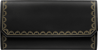 International Wallet with Flap, Guirlande de Cartier Black calfskin, golden finish