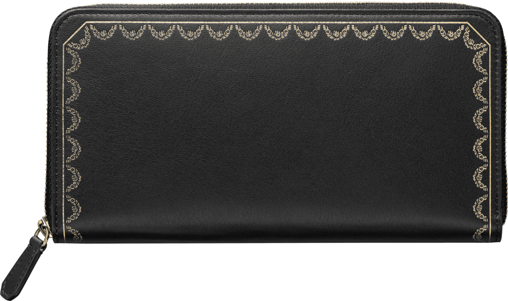 Zipped International Wallet, Guirlande de CartierBlack calfskin, golden finish