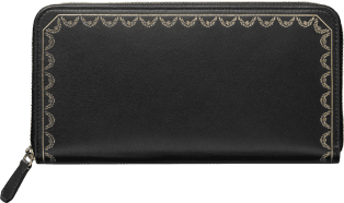 Zipped International Wallet, Guirlande de Cartier Black calfskin, golden finish
