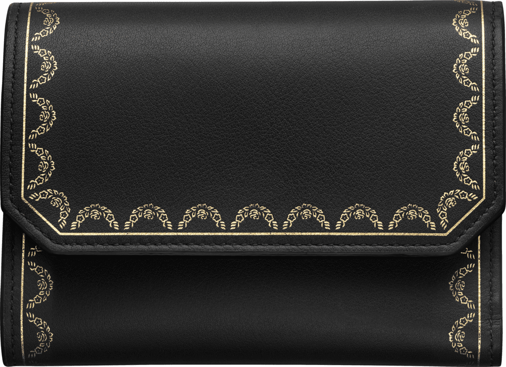 Wallet, Small, Guirlande de CartierBlack calfskin, golden finish