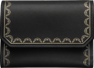 Wallet, Small, Guirlande de Cartier Black calfskin, golden finish