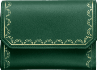Wallet, Small, Guirlande de Cartier Green calfskin, golden finish
