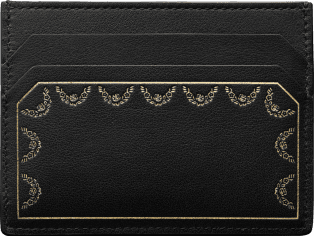 Simple Card Holder, Guirlande de Cartier Black calfskin, golden finish