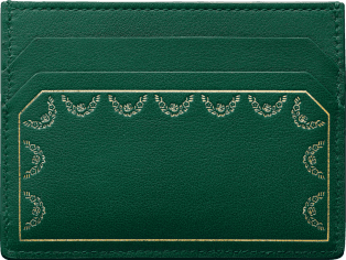 Simple Card Holder, Guirlande de Cartier Green calfskin, golden finish