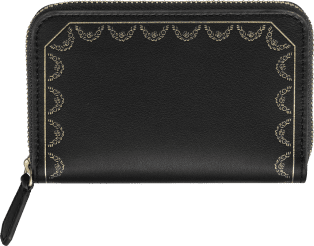 Zipped Multi-card Holder, Guirlande de Cartier Black calfskin, golden finish