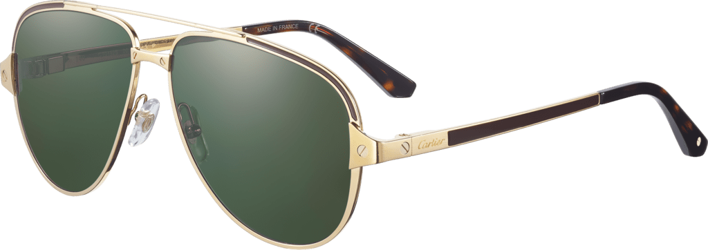 Santos de Cartier sunglassesSmooth and brushed golden-finish metal, polarized green lenses