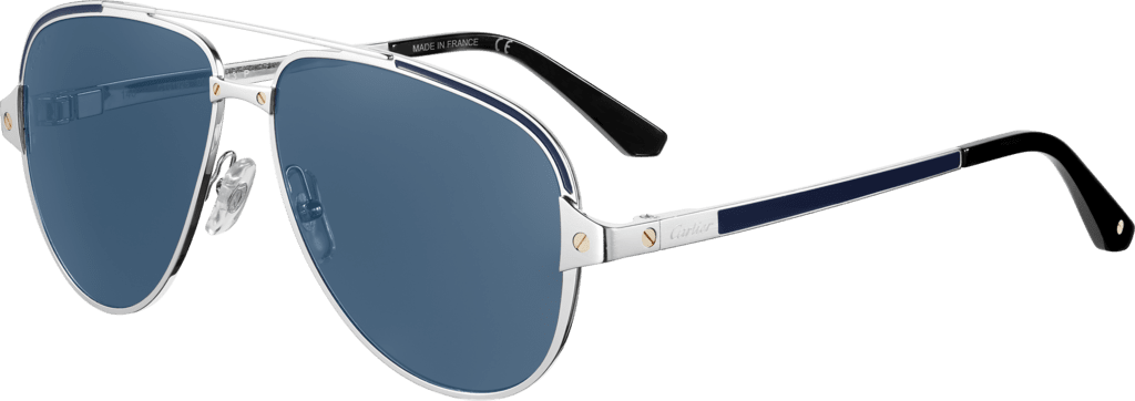 Santos de Cartier sunglassesSmooth and brushed platinum-finish metal, polarized blue lenses with silver-toned flash