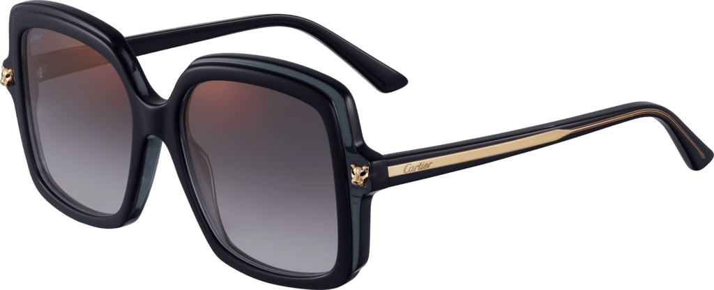 Panthère de Cartier sunglassesBlack composite, graduated gray lenses with golden flash