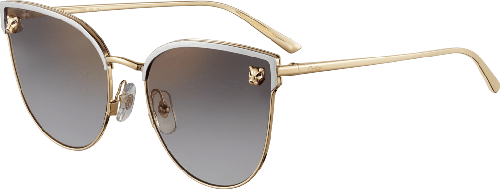 Panthère de Cartier sunglassesSmooth golden-finish and brushed platinum-finish metal, gray lenses with golden flash
