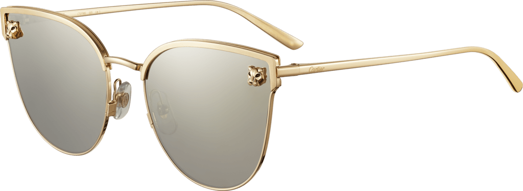 Panthère de Cartier sunglassesSmooth and brushed golden-finish metal, gray lenses with ivory-color mirror finish.