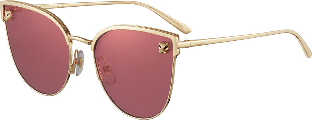 Panthère de Cartier sunglassesSmooth and brushed golden-finish metal, pink lenses with pink flash