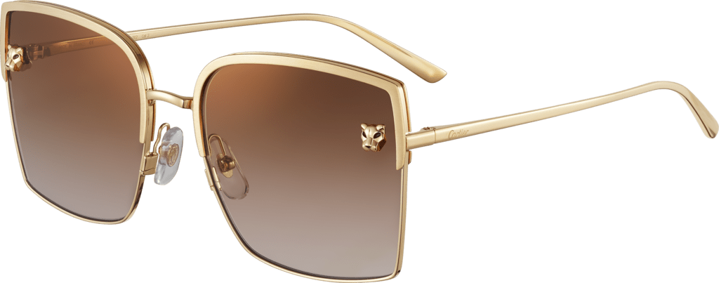 Panthère de Cartier sunglassesSmooth and brushed golden-finish metal, brown lenses with golden flash