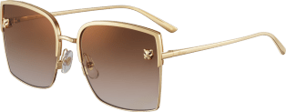 Panthère de Cartier sunglasses Smooth and brushed golden-finish metal, brown lenses with golden flash