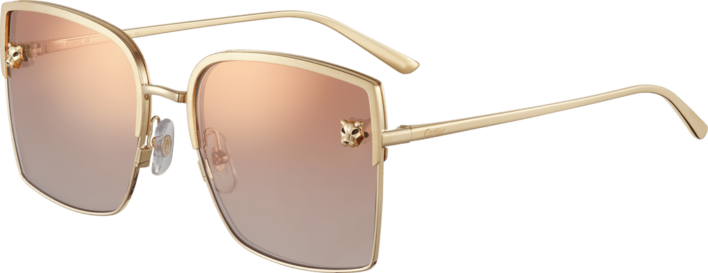Panthère de Cartier sunglassesSmooth golden-finish metal, graduated burgundy lenses with pink flash