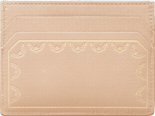 Guirlande de Cartier Small Leather Goods, card holder Powdered beige calfskin, golden finish