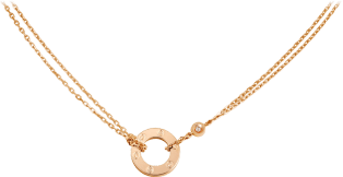 Love necklace, 2 diamonds Pink gold, diamonds