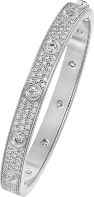 Love bracelet, diamond-paved White gold, diamonds