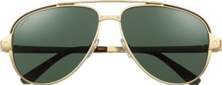 Santos de Cartier sunglasses Smooth and brushed golden-finish metal, polarized green lenses
