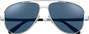 Santos de Cartier sunglasses Smooth and brushed platinum-finish metal, polarized blue lenses with silver-toned flash