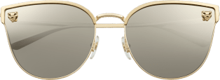 Panthère de Cartier sunglasses Smooth and brushed golden-finish metal, gray lenses with ivory-color mirror finish.