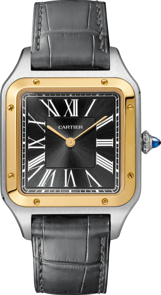 Santos-Dumont watchLarge model, hand-wound mechanical movement, yellow gold, steel, leather