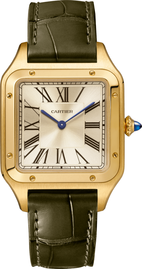 Santos-Dumont watchLarge model, hand-wound mechanical movement, yellow gold, leather