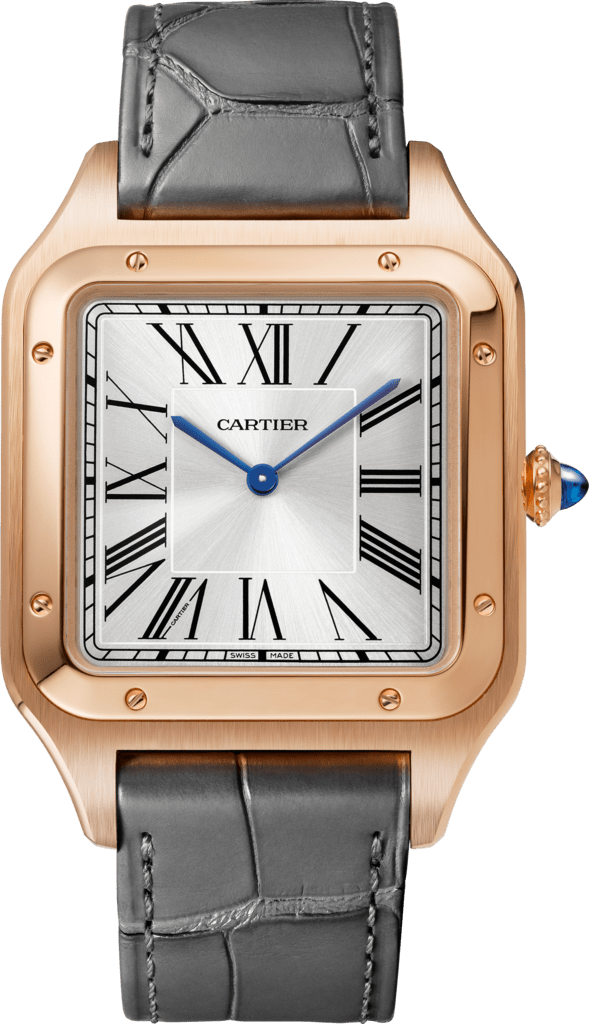 Santos-Dumont watchExtra-large model, hand-wound mechanical movement, pink gold, leather