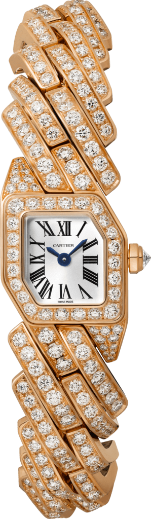 Maillon de Cartier watch Small model, quartz movement, pink gold, diamonds