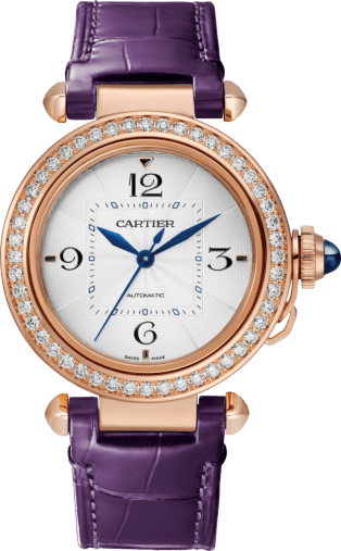 Pasha de Cartier watch 35 mm, automatic movement, pink gold, diamonds, 2 interchangeable leather straps