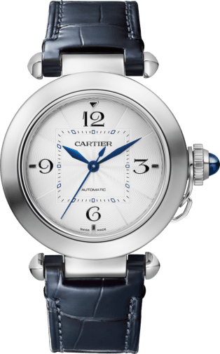 Pasha de Cartier watch 35mm, automatic movement, steel, 2 interchangeable leather straps