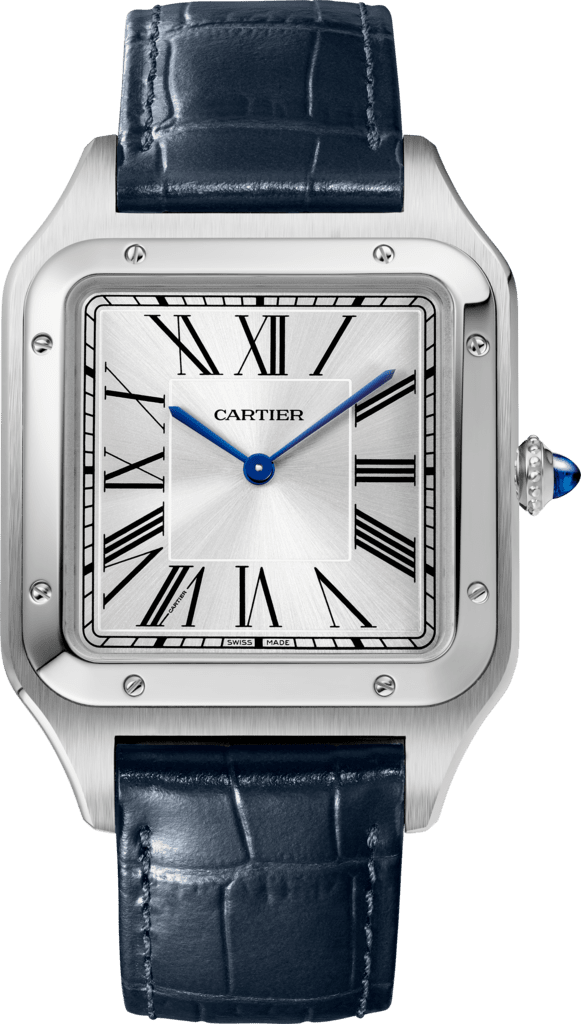Santos-Dumont watchExtra-large model, hand-wound mechanical movement, steel, leather
