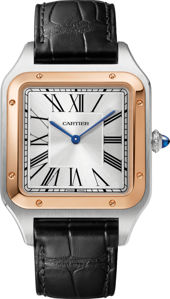 Santos-Dumont watchExtra-large model, hand-wound mechanical movement, rose gold, steel, leather