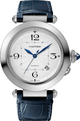 Pasha de Cartier watch 41 mm, automatic movement, steel, 2 interchangeable leather straps