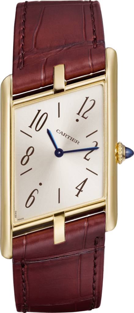 Tank Asymétrique watchLarge model, hand-wound mechanical movement, yellow gold, leather