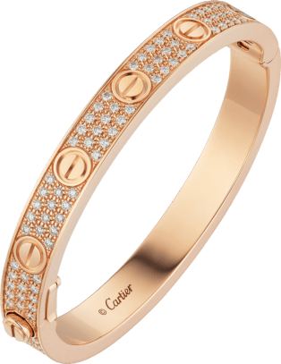Love bracelet, diamond-paved Pink gold, diamonds