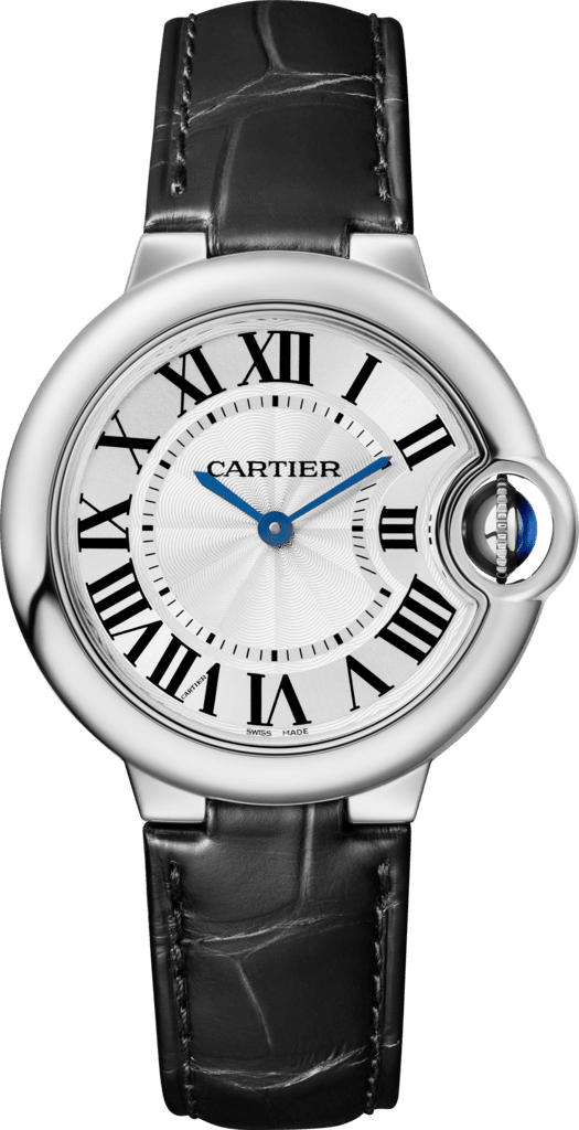 Ballon Bleu de Cartier watch33mm, quartz movement, steel, leather