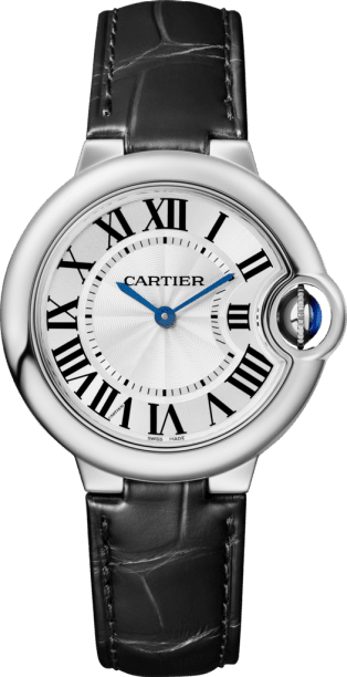 Ballon Bleu de Cartier watch 33mm, quartz movement, steel, leather