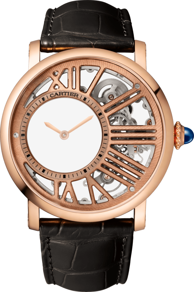 Rotonde de Cartier watch42mm, hand-wound mechanical movement, rose gold, leather