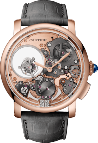 Rotonde de Cartier watch 45 mm, pink gold, leather, minute repeater, double tourbillon, skeleton