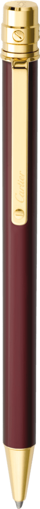 Santos de Cartier ballpoint pen Small model, burgundy lacquer, gold finish