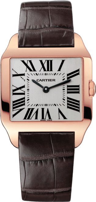 Santos-Dumont watch Small model, 18K pink gold, leather, sapphire
