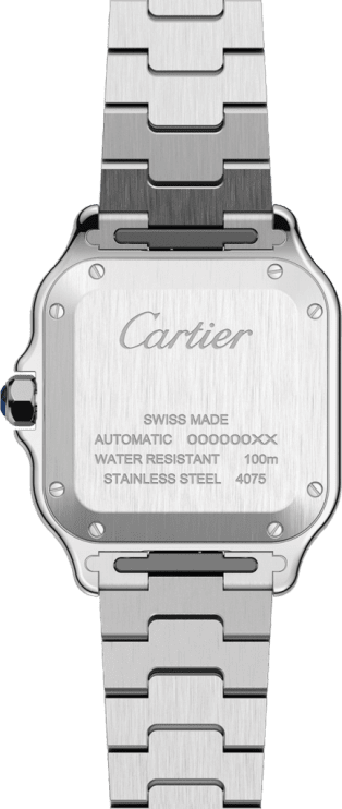 Santos de Cartier watch Medium model, automatic movement, steel, interchangeable metal and leather bracelets