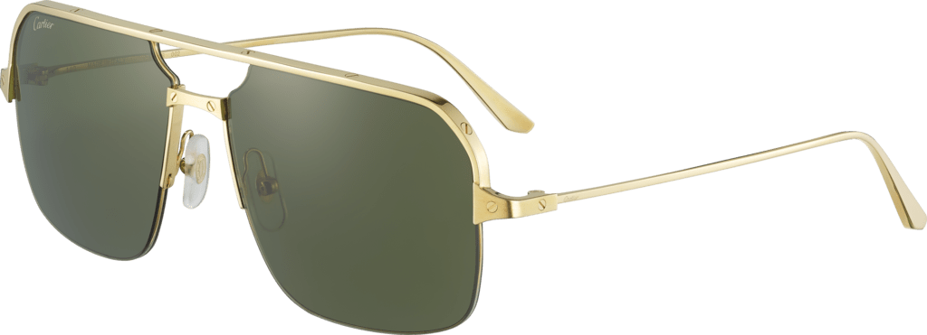 Santos de Cartier sunglassesSmooth and brushed golden-finish metal, green lenses