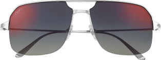 Santos de Cartier sunglasses Smooth and brushed platinum-finish metal, blue lenses with red flash