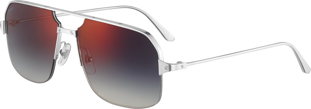 Santos de Cartier sunglassesSmooth and brushed platinum-finish metal, blue lenses with red flash