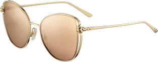 Panthère de Cartier sunglasses Smooth golden-finish metal, pink lenses with golden flash